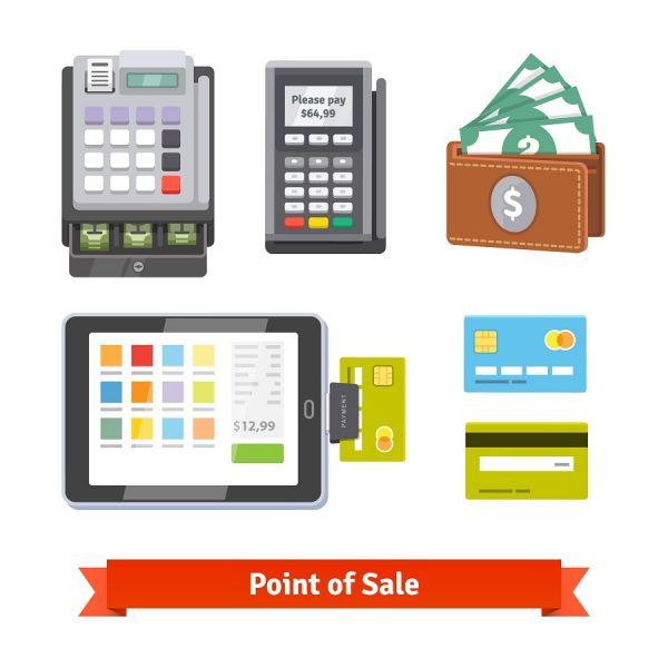 Set of payment icons. Cash register, pos terminal, wallet, tablet and credit cards. Flat style vector isolated on white background.